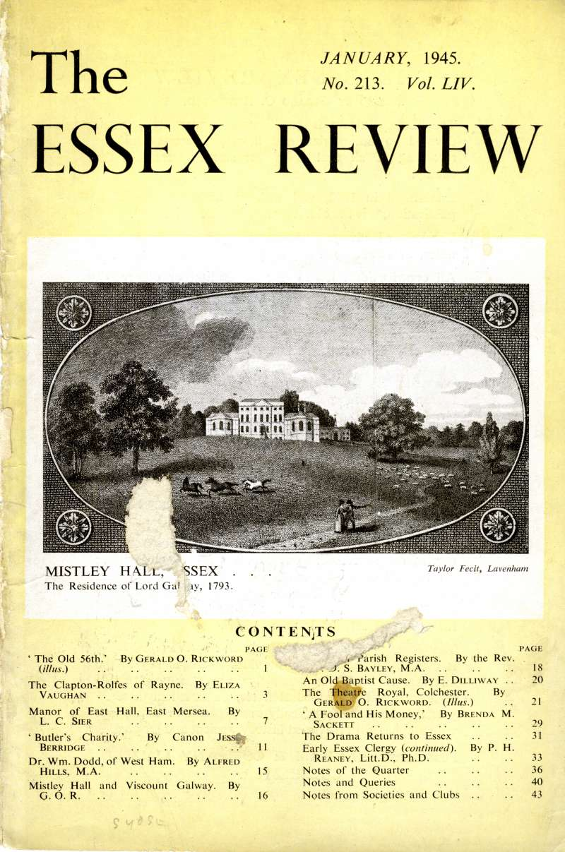 The Manor of East Hall, East Mersea. Essex Review 1945.