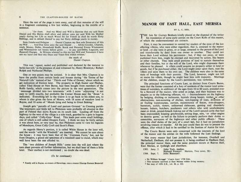 The Manor of East Hall, East Mersea by L.C. Sier. Essex Review 1945. Page 6. 