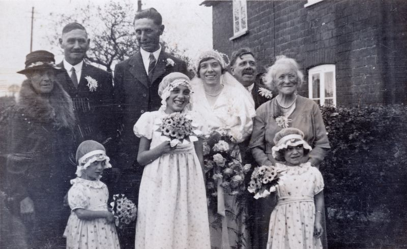 17. ID GWC_009 Wedding of Kate Goody and Ernest Wyncoll. Photograph taken outside Barnards Cottage, Peldon - home of the bride's parents.
