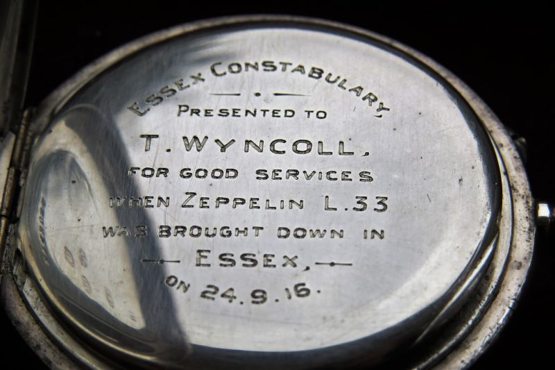 18. ID GWC_031 Essex Constubulary. Watch presented to T. Wyncoll for good services when Zeppelin L33 was brought down in Essex on 24.9.16