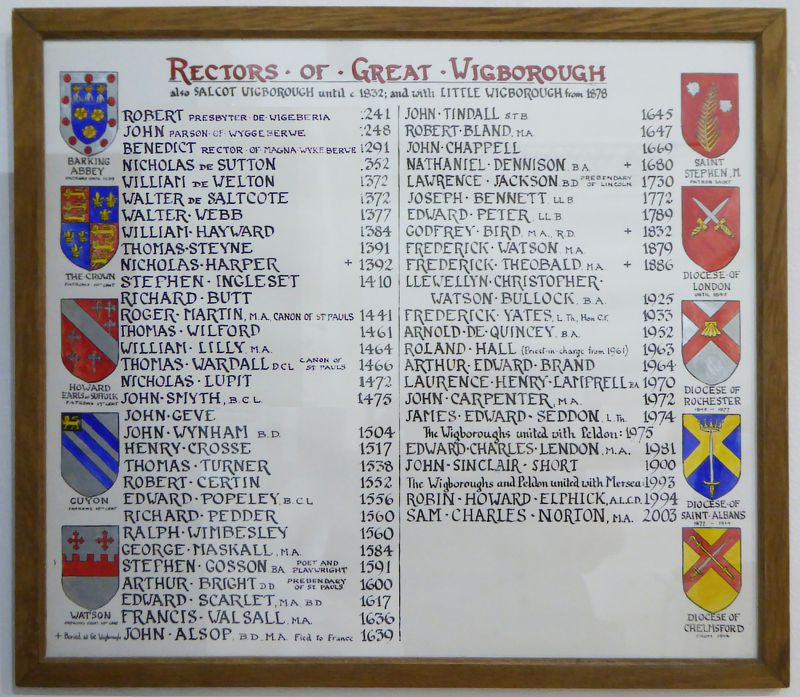 Rectors of Great Wigborough also Salcot Wigborough until c1832 and with Little Wigborough from 1878. Up to 1789, most of the names are also on the list in Salcott Church  ...