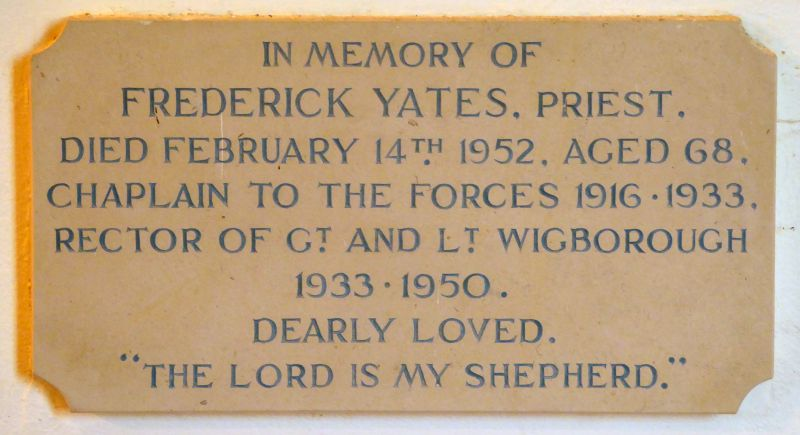 In Memory of Frederick Yates. Priest. 