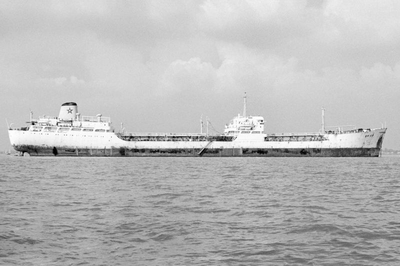 Liberian flag tanker ORICO laid up in River Blackwater. Date: 12 September 1976.