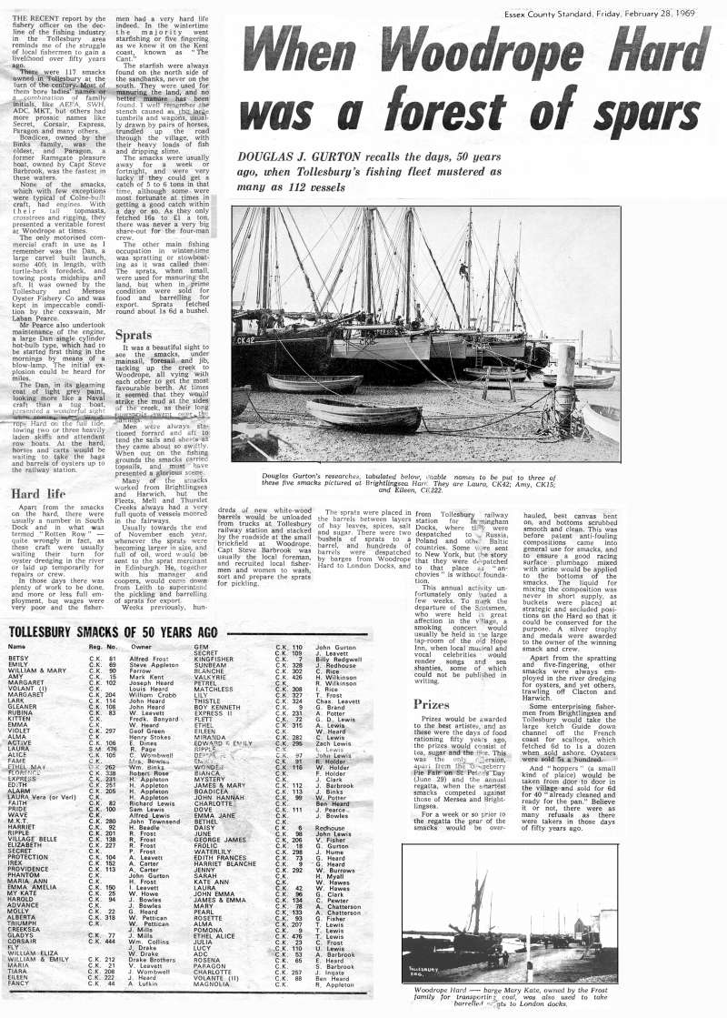 Newspaper article When Woodrope Hard was a forest of spars. From Essex County Standard, 28 February 1969 - an article by Douglas J. Gurton. 
