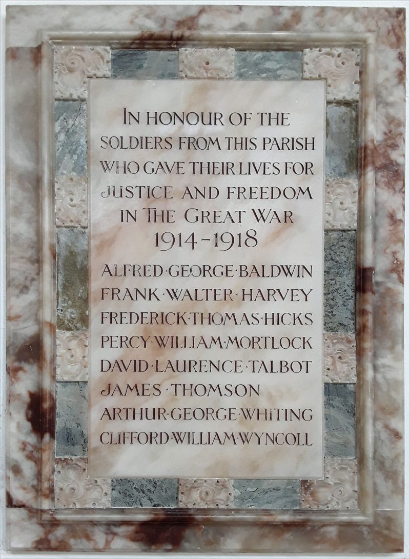 Peldon War Memorial in the Parish Church