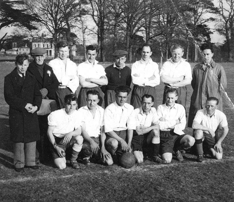 Peldon Football Club taken at Birch in the early '50s. Three Polish players were living in the Hostel, Wigborough Road, that had housed POWs and the Women's Land Army during its history.