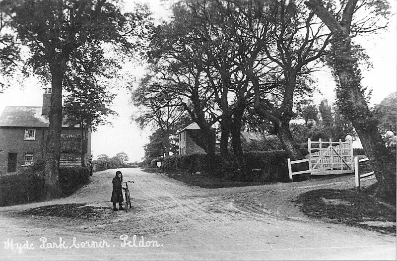 Hyde Park Corner, Peldon. St Ives Hill is on the left. Entrance to Peldon Hall on the right. Hammond postcard 