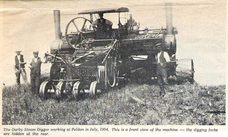 The Darby Steam Digger working at Peldon in July 1904. This is a front view of the machine - the digging forks are hidden at the rear.