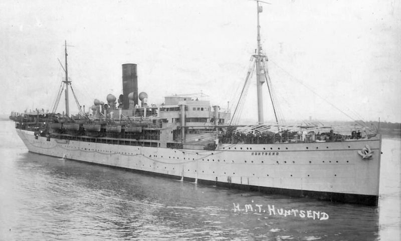 H.M. Transport HUNTSEND, formerly the Norddeutscher Lloyd liner LUTZOW. She was laid up in the River Blackwater from 18 September 1923 until she was sold back to Norddeutscher Lloyd and renamed LUTZOW. She was broken up Vegesack 1932.