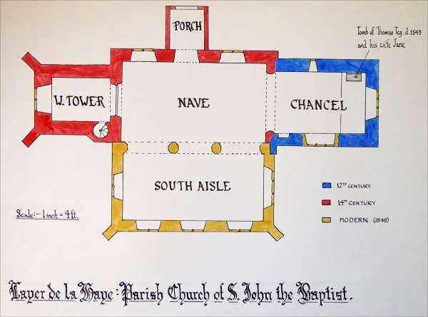 Layer de la Haye Parish Church of St John the Baptist. Plan by T.B. Millatt 
