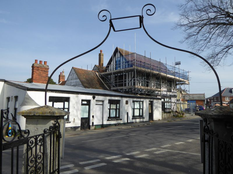 White Hart, West Mersea. Work has started on refurbishment, with scaffolding in place. The pub had closed in 2013. 