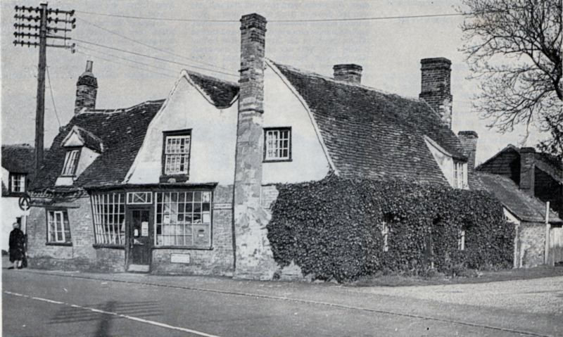 The Post Office at Tolleshunt D'Arcy in 1936 before restoration. In the 1960s, they were recently restored, but Douglas Went considers they looked better before restoration.