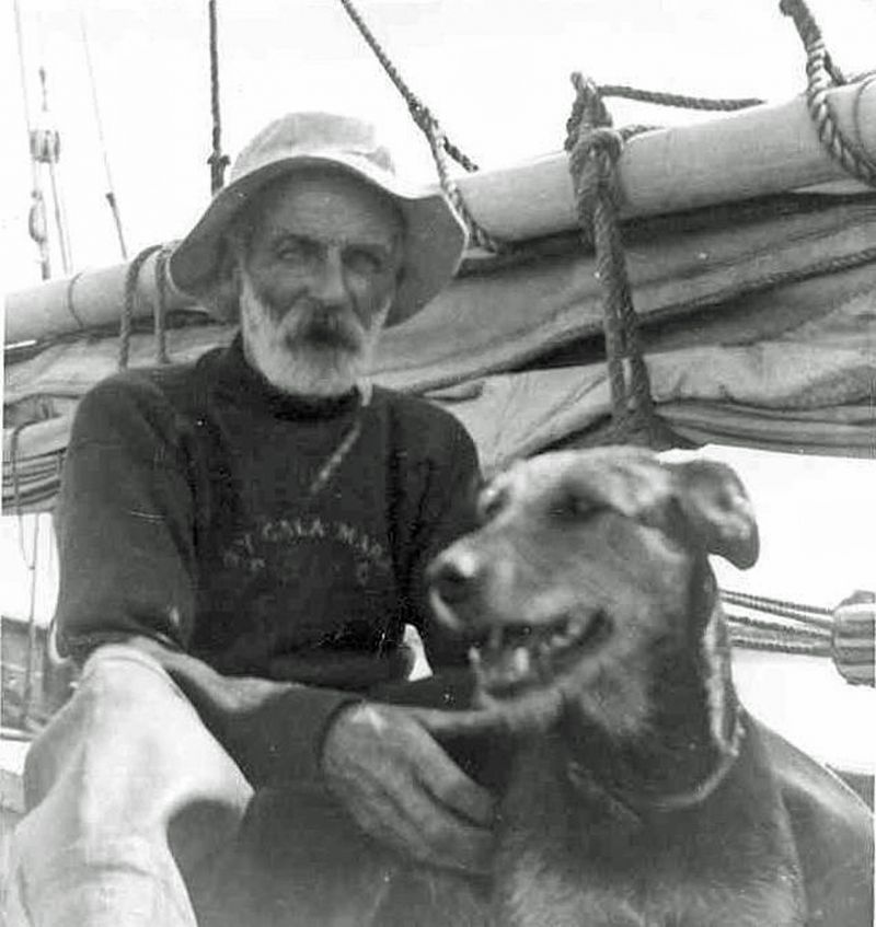 William Haward and Spot aboard the smack EVERGREEN. His jersey is from the S.Y. CALA MARA. 