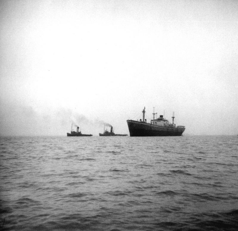 MICHALAKIS refloated by tugs NAPIA and OCEAN COCK after her time ashore opposite Empress Avenue, West Mersea. She was towed to Gravesend, arriving the same day. Date: 16 February 1958.