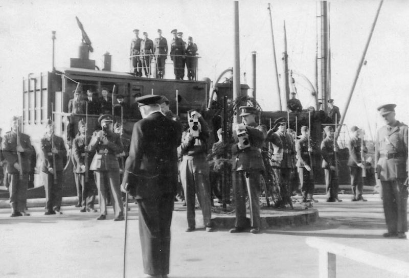Winston Churchill visiting Iceland during WW2. George Saunders Smith is part of the Guard of Honour. 