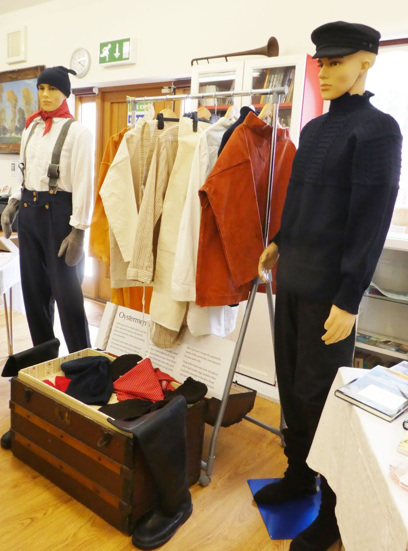 Oysters and Oilskins - a special exhibition of the clothing that Oystermen would have worn in the past, by Brightlingsea U3A, who researched and published the book Oysters and Oilskins. 