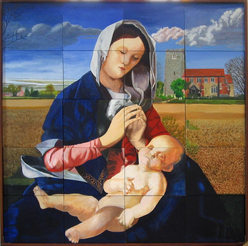 Virgin and child. Painting by Peldon Art Group. It now hangs on the north wall of St. Mary the Virgin, Peldon. 