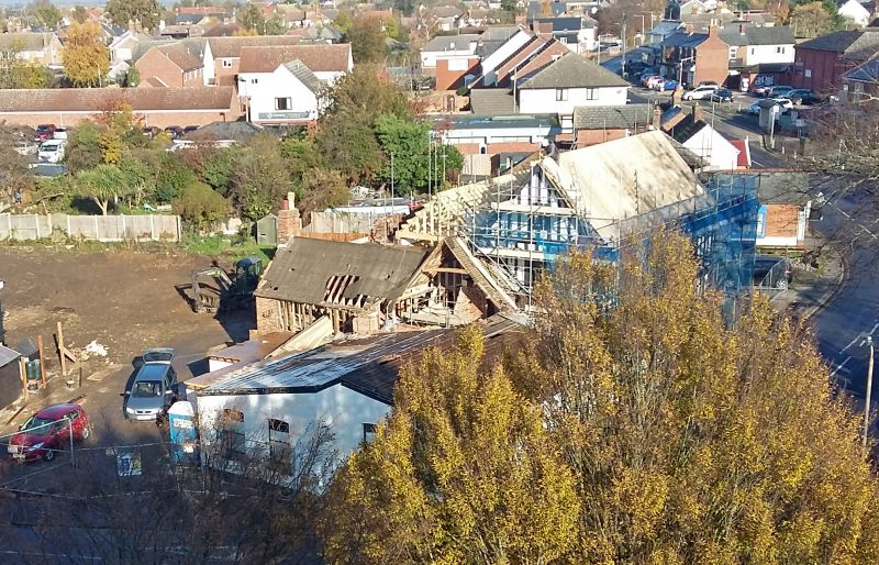Rebuilding the White Hart. View from West Mersea Church Tower. 