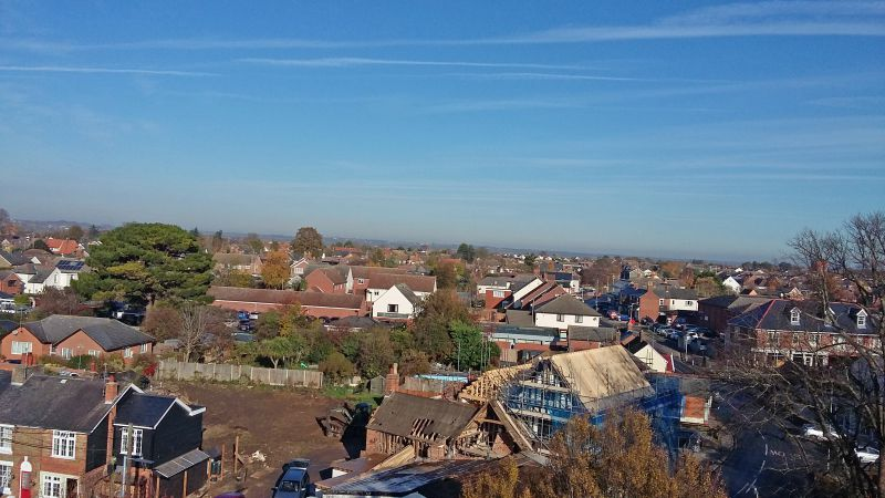Rebuilding the White Hart. View northwest from West Mersea Church Tower. 