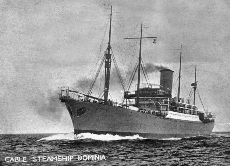 Cable ship DOMINIA. Built 1926, Swan Hunter, Low Moor. Official No. 148768. Renamed NIKOLAY EZHOV 1937, FELIKS DZERZHINSKIY 1939.