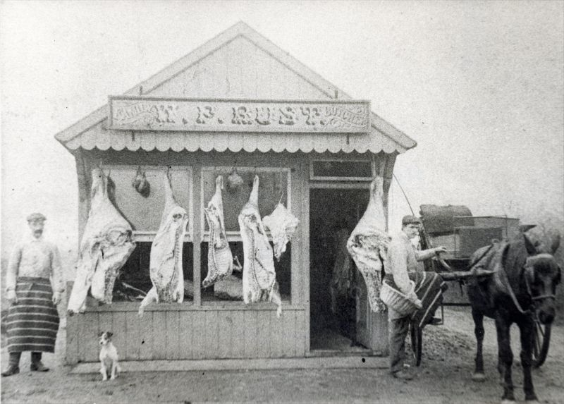 Appleby's Butchers Shop, Captains Road, c1910. Copied from original in Mrs Fahie's possession A. Mansfield 1961
