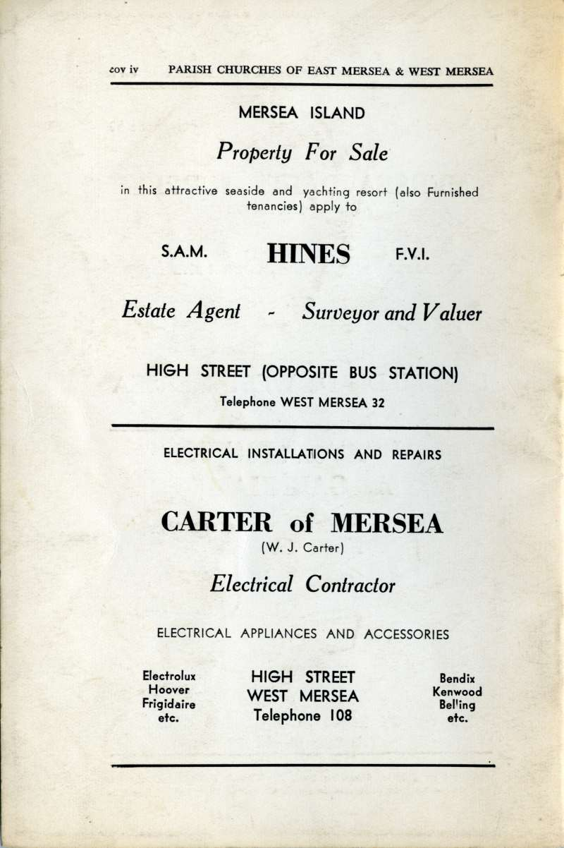 A Short History of the Parish Churches of East Mersea and West Mersea, Essex. Back Cover.