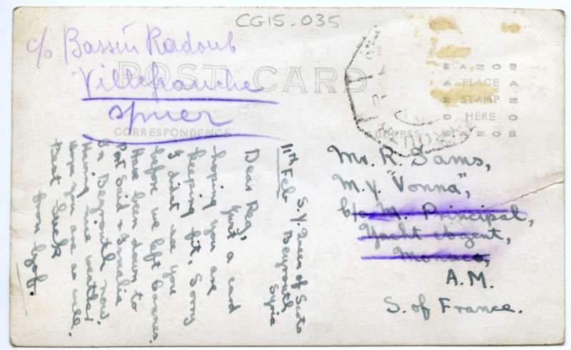 Back of card of QUEEN OF SCOTS, Galapagos Islands. Card posted from S.Y. QUEEN OF SCOTS, Beyrouth, Syria, 11 Feb [no year], to Reg Sams, M.Y. VONNA. Writer is Gof Sams, who also posted another copy of this photograph on 21 June 1931.
