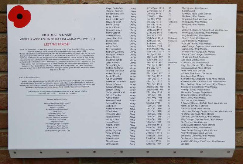 The plaque from the Strood describing the 51 memorial soldiers and sailors that were there for a year from 11 November 1918.