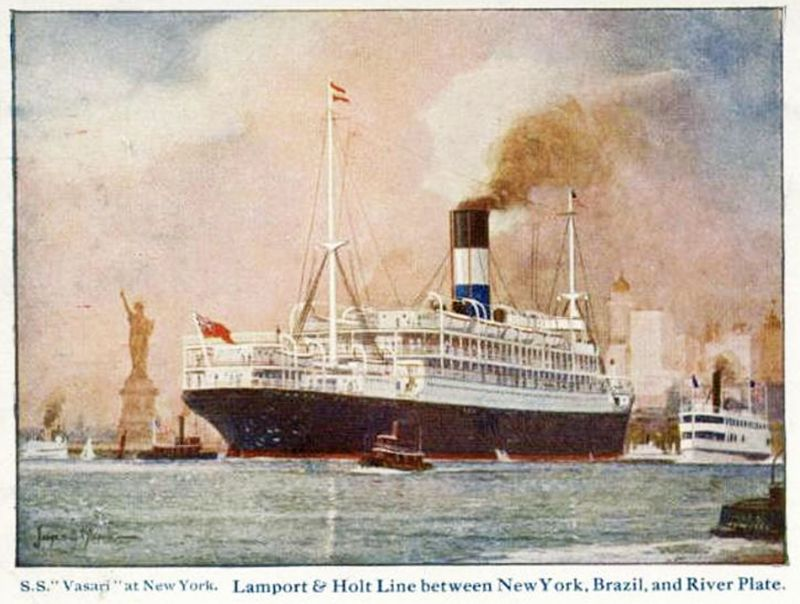 S.S. VASARI at New York. Lamport & Holt Line between New York, Brazil and River Plate.