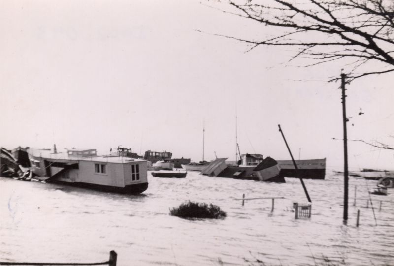 Houseboats at West Mersea at high tide the day after the 1953 Flood 