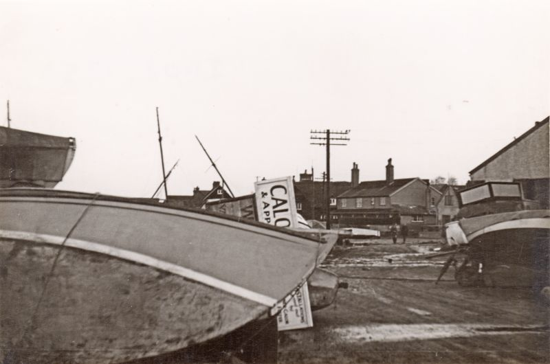 Coast Road at West Mersea after the 1953 Flood. Old Victory. 