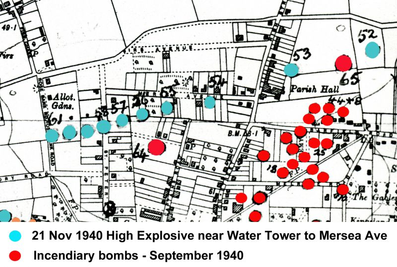 Part of the bomb map of Mersea Island showing the string of High Explosive [marked in Blue] bombs dropped from near the Water Tower down Mersea Avenue, with the last one in the middle of St Peters Road. The front of a semi-detached house in Mersea Avenue was sucked out by one of the bombs - Laburnhams (later No. 11) belonging to Ernie Woolf and Alafin (No. 13) belonging to Percy Mussett. The ...