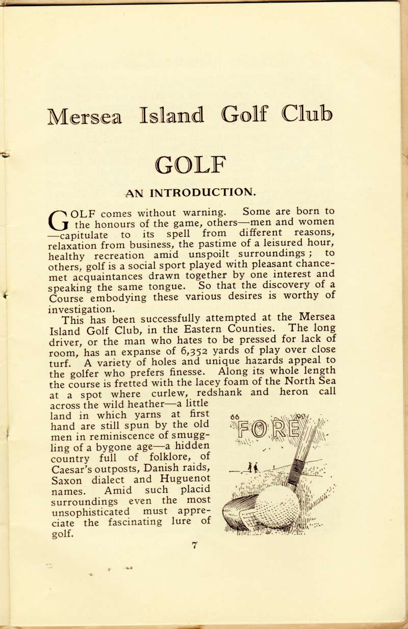 Mersea Island Golf Club Official Handbook page 7.