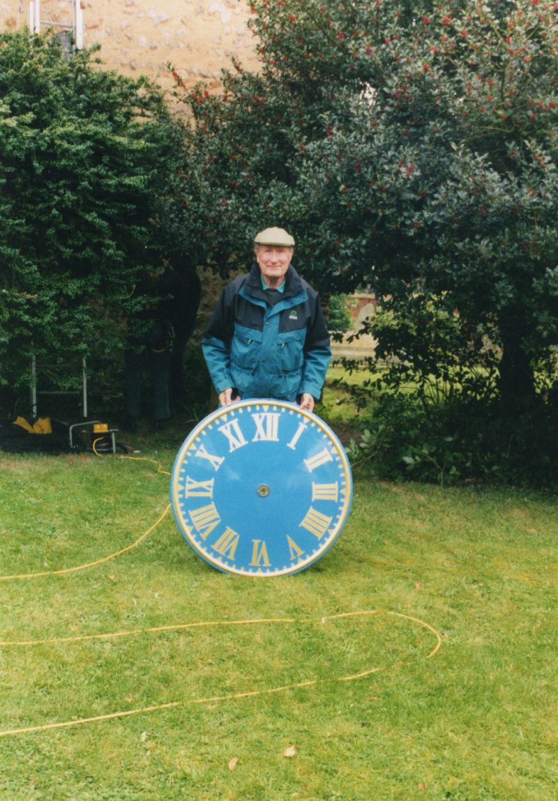 West Mersea Parish Church - Bill Norman and the new clock face. 