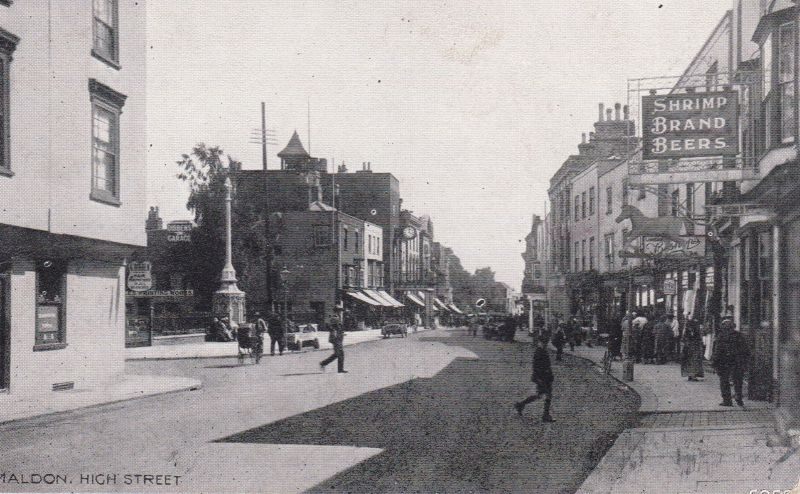 Maldon High Street. Shrimp Brand Beers. Card posted 13 March 1927 