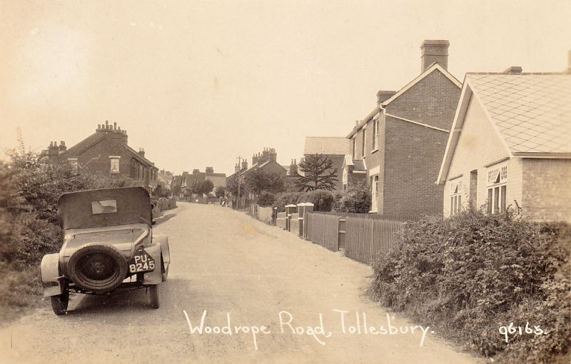 114. ID PBIB_TOL_157 Woodrope Road, Tollesbury. PU8245. Postcard 96165, postmarked 14 August 1934. PU is an Essex registration, issued between July 1923 and September ...