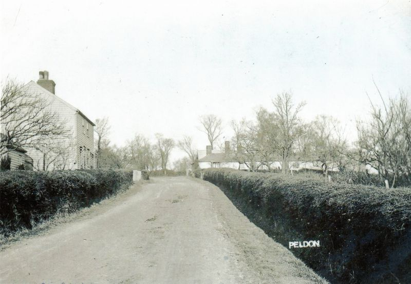 Church Road, Peldon. Goings Cottages on the right, now known as Tronoh Bungalow.  PH01_255