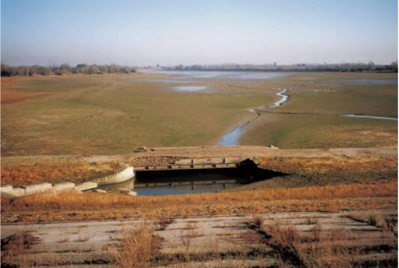 View from Layer Breton Causeway, when the Reservoir was low in 1997. 