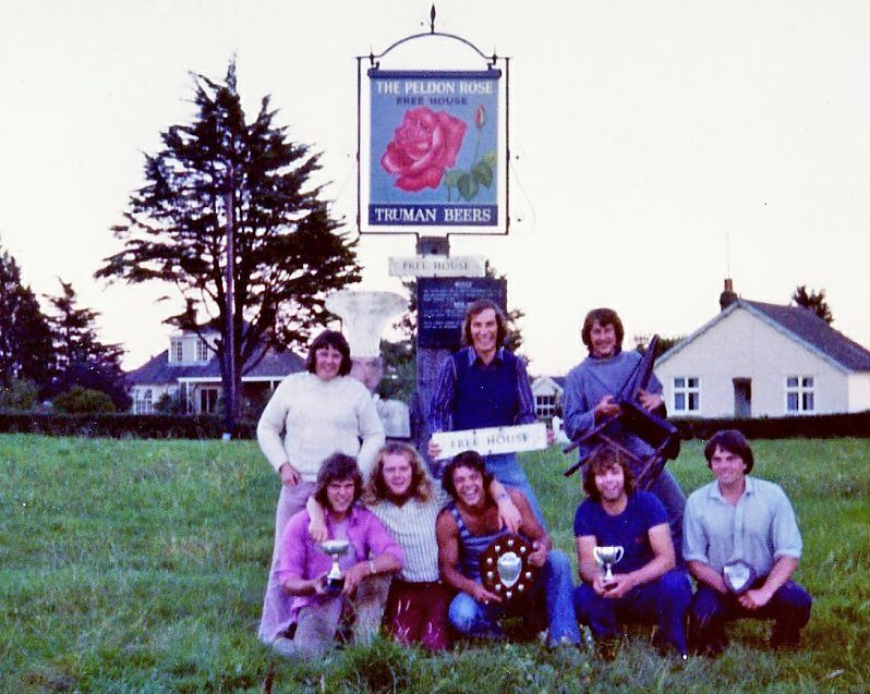 Peldon Tug of War Team outside Peldon Rose 1973 or 1974