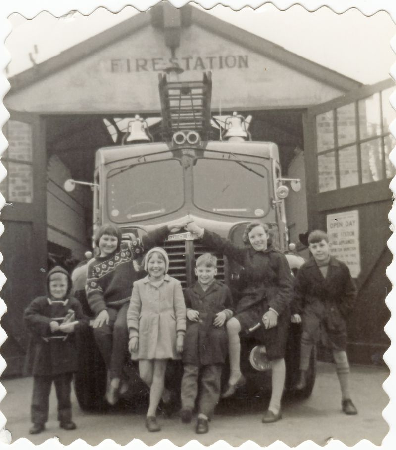 Rudlin friends and family on the Dodge Fire Engine outside the Fire Station in Melrose Road at an open day in 1962