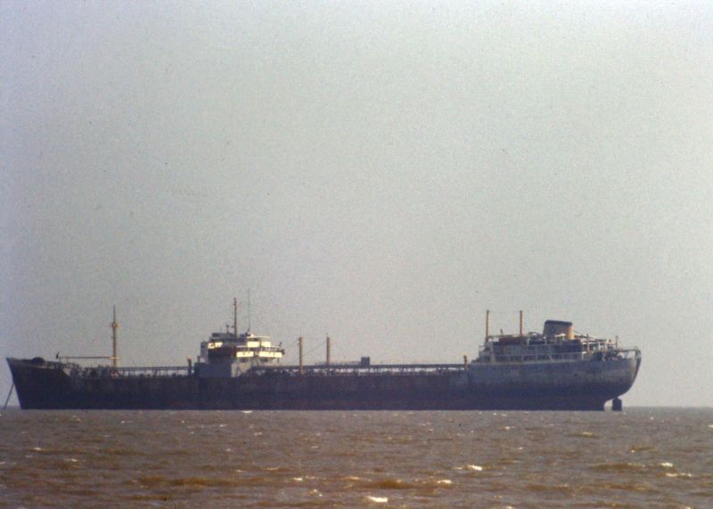 Tanker ARO in the Blackwater. She was laid up in the River from July 1975 to October 1978 Date: c1976.