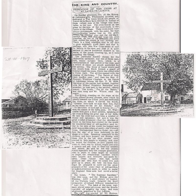 Dedication of War Cross at Layer de la Haye