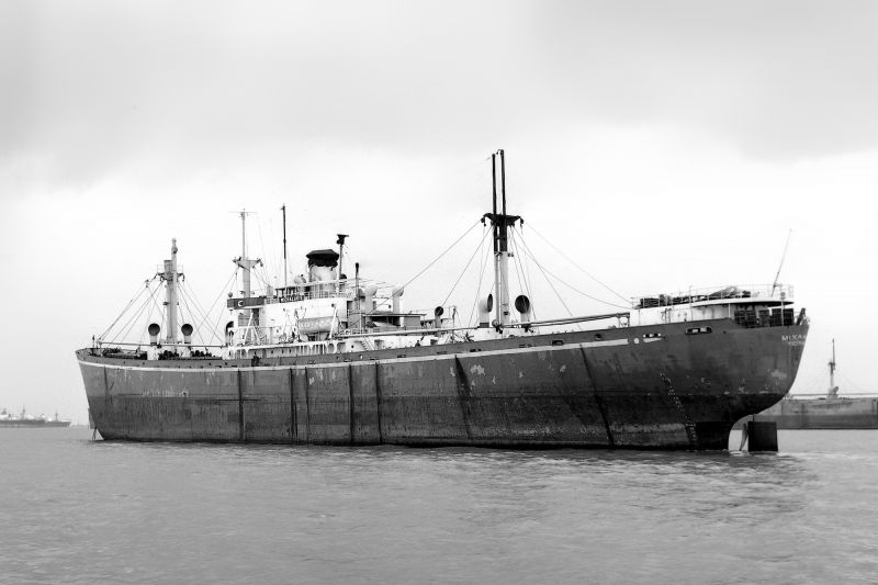 Liberty ship MICHALAKIS laid up in the River Blackwater. Date: c1958.