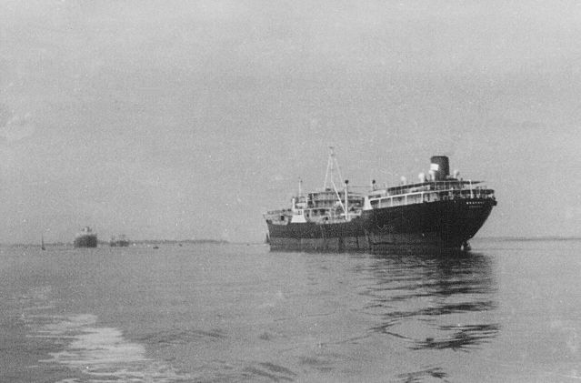 Tanker BEDFORD laid up in the River Blackwater. Date: cJuly 1960.