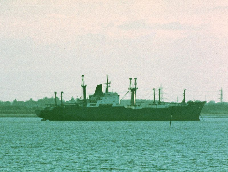 FLAMAR PRIDE laid up in the River Blackwater. Date: 13 October 1981.