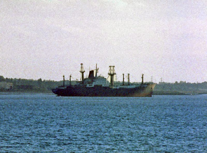 FLAMAR PROGRESS laid up in the River Blackwater. Date: 13 October 1981.