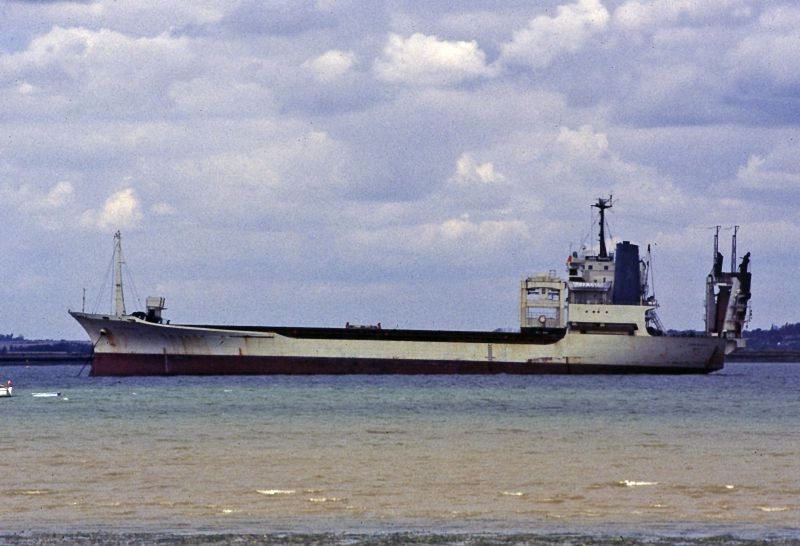 JADE BOUNTY laid up in the River Blackwater. Date: 25 August 1985.