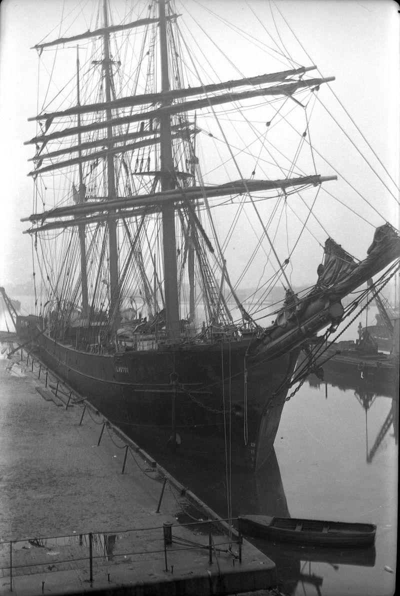 Barque ALASTOR - either in Millwall Dock London or Birkenhead. Probably 1930s. Date: c1935.
