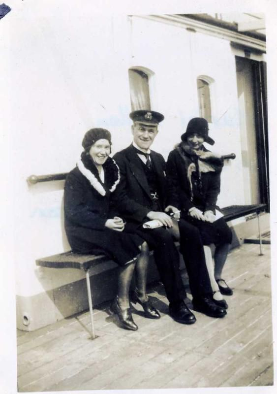 Muriel Pullen, Captain Anderson & Tora. The ship is unidentified. Date: April 1931.