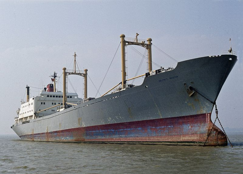 DELPHIC REEFER laid up in the River Blackwater. Date: 5 September 1982.
